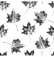 black and white seamless pattern of autumn leaves vector image
