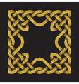 Golden glittering square frame in Celtic knots vector image