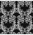 White lace seamless pattern on black background vector image