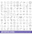100 notice icons set outline style vector image vector image