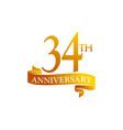 34 year ribbon anniversary vector image vector image