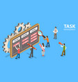 3d isometric flat concept task vector image