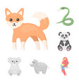 an unrealistic animal cartoon icons in set vector image