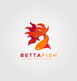 betta fish fire modern logo design vector image vector image