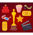 big cinema objects collection on red back vector image vector image