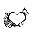 black-and-white heart with floral design vector image vector image