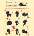 black cat cartoon character with autumn leaves vector image