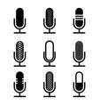 black microphones set vector image vector image