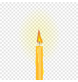burning candle on a transparent background vector image vector image