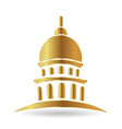 capitol gold building icon vector image vector image