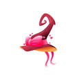 cartoon witch hat icon pink magician cap vector image vector image