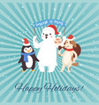 christmas holidays party funny companion cartoon vector image