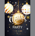 christmas party card over gray background with vector image vector image