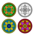 Color Floral Mandala Set isolated on white vector image