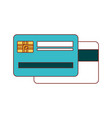 credit card both sides in colorful silhouette vector image vector image