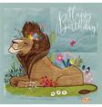 cute cartoon lion king vector image
