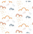 cute seamless pattern with hand drawn rainy clouds vector image