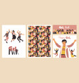 diverse women poster group happy girls set of vector image vector image