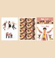 diverse women poster group happy girls set vector image