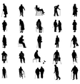 Elderly people silhouette set vector image