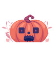 flat spooky pumpkin with scary face jack o vector image