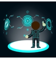Futuristic interface Man pushes button vector image