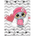 greeting card cute cat with balloon and bonnet vector image vector image
