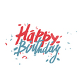 Happy Birthday text card Hand drawn lettering vector image