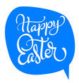 happy easter text on blue background vector image vector image