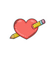 heart pierced with a pencil vector image vector image