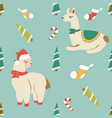 holiday pattern with cute lamas and elements vector image vector image