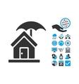 House Under Umbrella Flat Icon With Bonus vector image vector image