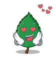 in love mint leaves mascot cartoon vector image vector image