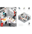 isometric restaurant kitchen interior concept vector image vector image