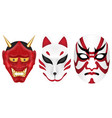 japan devil fox and kabuki mask set vector image