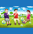 kids blowing bubbles vector image vector image