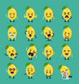 lemon character emoji set vector image