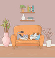 little dog and cat mascots in house room vector image vector image