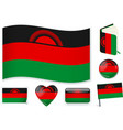 malawian flag in seven shapes editable vector image vector image