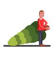 man bears a new year tree vector image vector image
