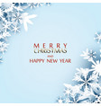 merry christmas greeting card paper cut snow flake vector image