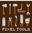 Pixel art isolated tools set vector image