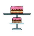 scribble stand birthday cake cartoon vector image vector image