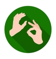 Sign language icon in flat style isolated on white vector image vector image