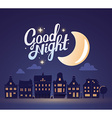 silhouette of night city landscape on dar vector image vector image