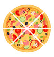 slices of pizza with meat pepperoni tomato vector image vector image