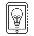 smartphone bulb icon outline style vector image