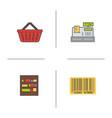 supermarket color icons set vector image