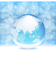 Transparent snow globe with map vector image vector image