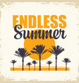 travel banner with palm trees and sun endless vector image vector image
